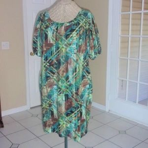 Feminine Styling Abstract Print Soft Knit Dress
